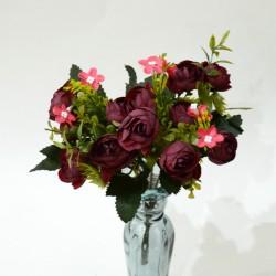 """Цветок искусственный букет """"Камелия лимра"""" бордовый 31см, арт. 4919"""