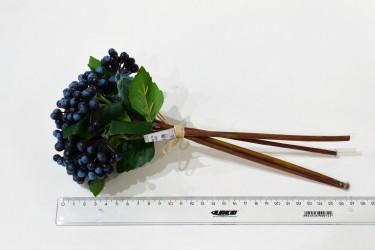 Цветок искусственный срез синие ягоды 28см, арт. 4927