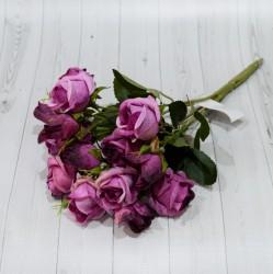 """Цветок искусственный букет роз """"Рубин"""" фуксия 28см, арт. 4961"""