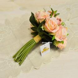 Цветок искусственный букет невесты срез роз беж. 9г. 22см, арт. 5014