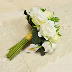 Цветок искусственный букет невесты срез роз белый 9г. 22см, арт. 5014