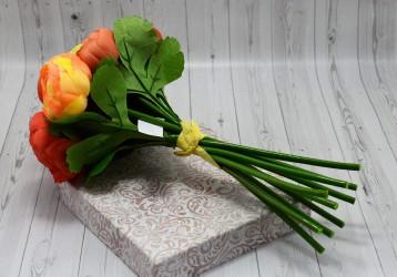 Цветок искусственный срез камелия оранжевый 27см, арт. 5015/1