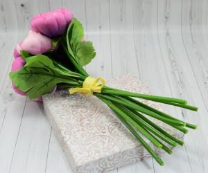 Цветок искусственный срез камелия розовый 27см, арт. 5015/2