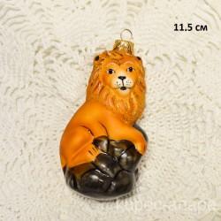 """Елочная игрушка """"Лев на сером камне"""" матовый, арт. 5260 ID4241"""