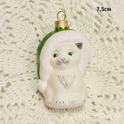 """Елочная игрушка """"Котик в шапке"""" зеленый арт. 5886 ID4243"""