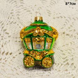 """Елочная игрушка """"Карета"""" 8*7см. зелен. арт 6057 ID4205"""