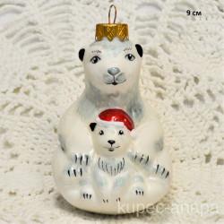 """Елочная игрушка """"Белая медведица и медвежонок"""" арт.6028 ID4281"""