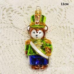 """Елочная игрушка """"Медведь солдат с мечем"""" зеленый арт. 5261 ID4247"""