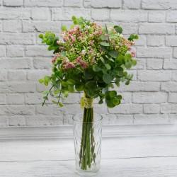Цветок искусственный букет срез кашка + самшит 12в h=30см. розовый, арт. 5423