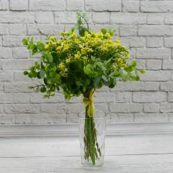 Цветок искусственный букет срез кашка + самшит 12в h=30см. желтый, арт. 5423
