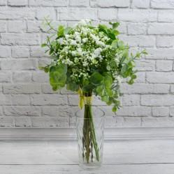 Цветок искусственный букет срез кашка + самшит 12в h=30см. белый, арт. 5423