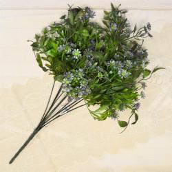 Цветок искусственный куст зелени h=48см. голубой, арт. 5424