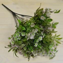 Цветок искусственный куст зелени h=48см. сиреневый, арт. 5424