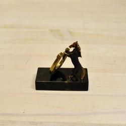 Фигурка Лошадка с подковой из бронзы на подставке из змеевика, арт. 5509