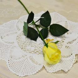 Цветок искусственный букет из 7шт. роз одиночка, силикон желтая, арт. 5613