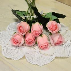 Цветок искусственный букет из 7шт. роз одиночка, силикон розовая, арт. 5613