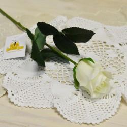 Цветок искусственный букет из 7шт. роз одиночка, силикон белая, арт. 5613