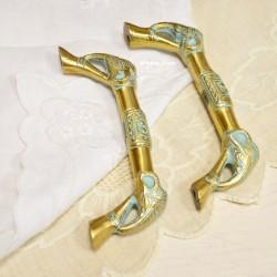 """Дверная ручка """"Слоны"""" латунь, комплект 2шт., арт. 5638"""