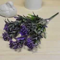 Цветок искусственный куст вереск пушистый сиреневый h=39см, арт. 5649