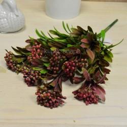 Цветок искусственный куст вереск пушистый красно-коричневый h=39см, арт. 5649