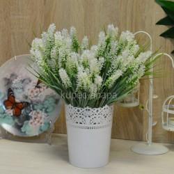 Цветок искусственный куст лаванда белая h=33см, арт. 5650