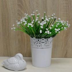 Цветок искусственный куст лук цветущий белый h=27см, арт. 5656