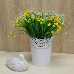 Цветок искусственный куст лук цветущий желтый h=27см, арт. 5656