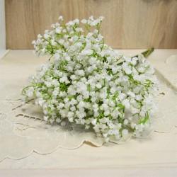Цветок искусственный ветка зелень гипсофила белая 48см, арт. 5657