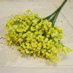 Цветок искусственный ветка зелень гипсофила желтая 48см, арт. 5657