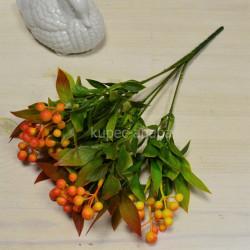 Цветок искусственный куст боярышник цветной оранжевый h=36см, арт. 5664