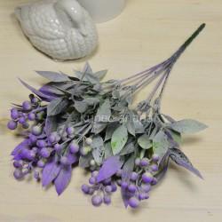 Цветок искусственный куст боярышник цветной сиреневый h=36см, арт. 5664