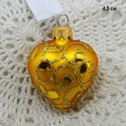 """Елочная игрушка """"Сердце"""" золото, арт. 1448 ID3629"""