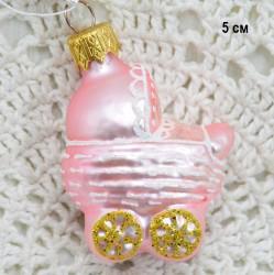 "Елочная игрушка ""Коляска"" розовая, арт. 1469 ID3823"