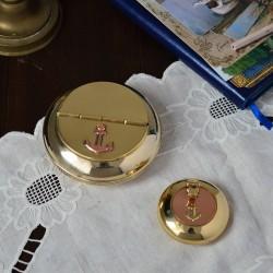 """Пепельница с крышкой """"Якорь"""" 10см, латунь/медь, арт. 5805"""