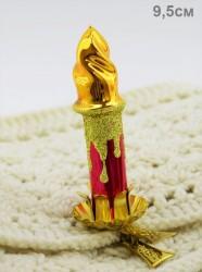 """Елочная игрушка на прищепке """"Свеча красная"""", арт. 1442"""