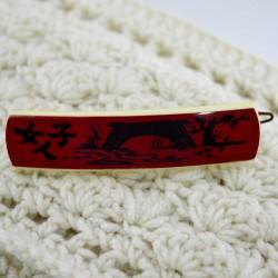 """Винтажная заколка для волос """"Восток"""" цвет красно-белый, ID 1676"""