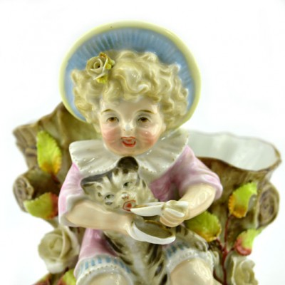 """Статуэтка - вазочка """"Ребенок с котенком"""", арт. 1278"""