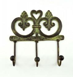 """Вешалка """"Узор"""" зел. патина на 3 крючка, 16*16см, арт. 1790"""