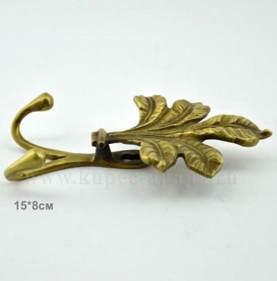 "Вешалка ""Лист лилии"" на 2 крючка, латунь, 13,5*8см, арт 552"