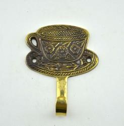 """Вешалка """"Чайная пара"""" 1кр, латунь, 9*7см, Индия арт. 555"""