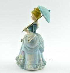 """Статуэтка """"Девушка в голубом платье под зонтом"""" 19,5 см, арт.2737"""