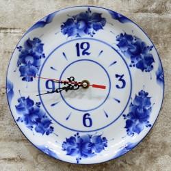 Часы - тарелка, 27см., гжель, арт. 0337
