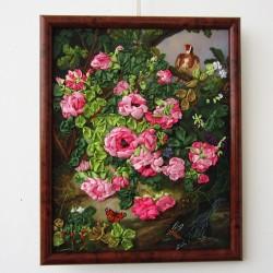 "Картина вышивка лентами ""Розовый куст"", арт. 1620"