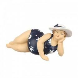 """Фигурка """"Дама в шляпе. Пляжница"""" в синем  7х9х8,5см., арт. 4056"""