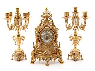 Гарнитур каминный: часы + 2 канделябра из латуни, арт. 3886