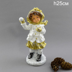 """Фигура """"Девочка играет в снежки"""" 25см., арт. 4076"""