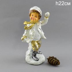 """Фигура """"Мальчик в кепке играет в снежки"""" 22см., арт. 4078"""