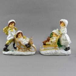 """Фигура """"Девочка и мальчик катают на санках"""" 15см., арт. 4079"""