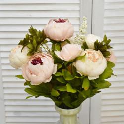 """Цветок искусственный букет """"Пион и гортензия"""" цвет роз./крем. 50см, арт. 4621"""